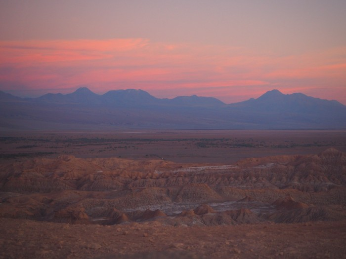 Coucher de soleil sur la Valle de la Muerte