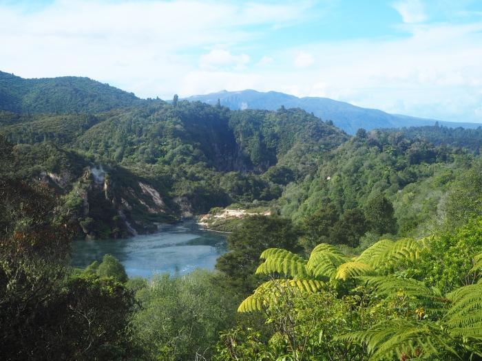 Vue sur le Frying Pan Lake et les fumerolles de Cathedral Rocks - Waimangu
