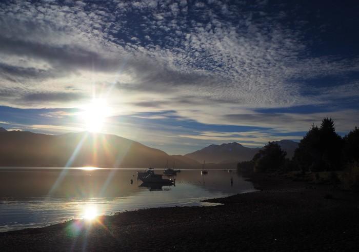 Coucher de soleil sur le lac Te Anau